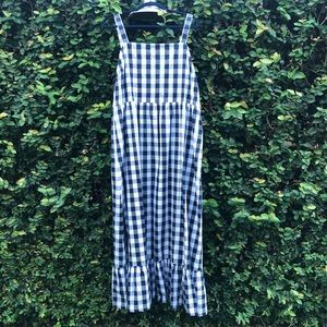 J. Crew Tiered Maxi in Gingham Navy and Blue